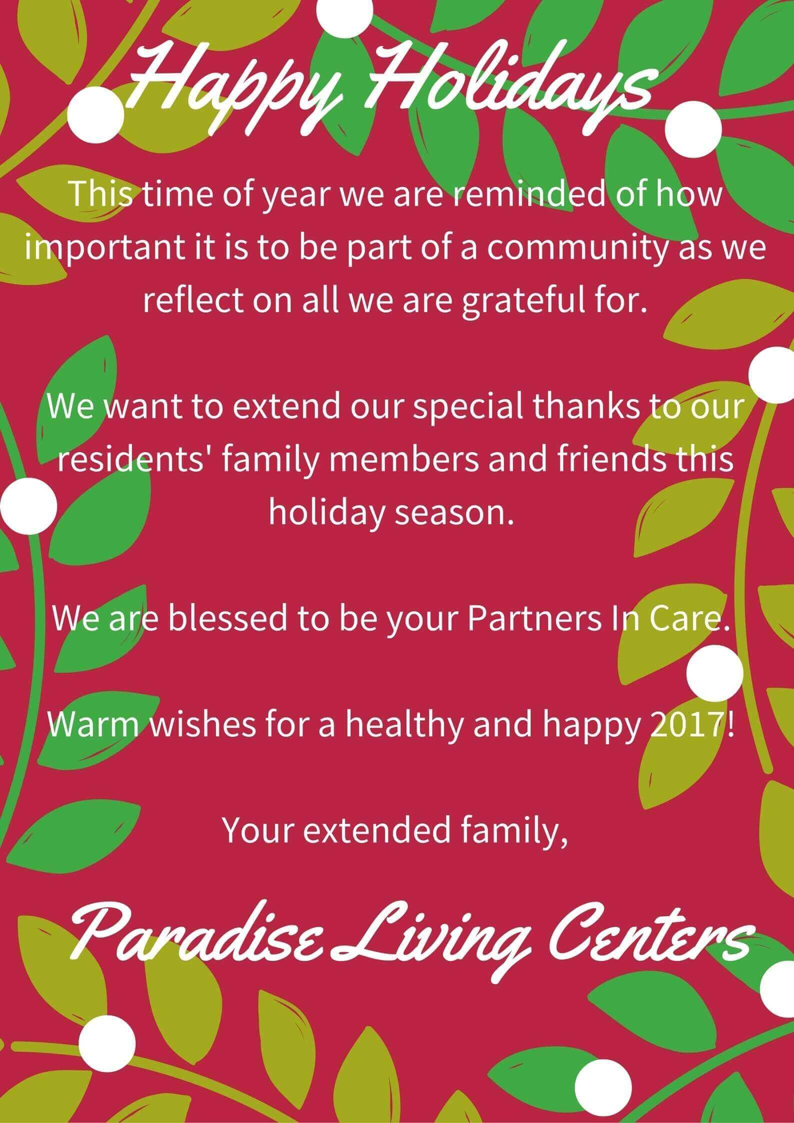 Seasons Greetings From Paradise Living Centers Paradise Living
